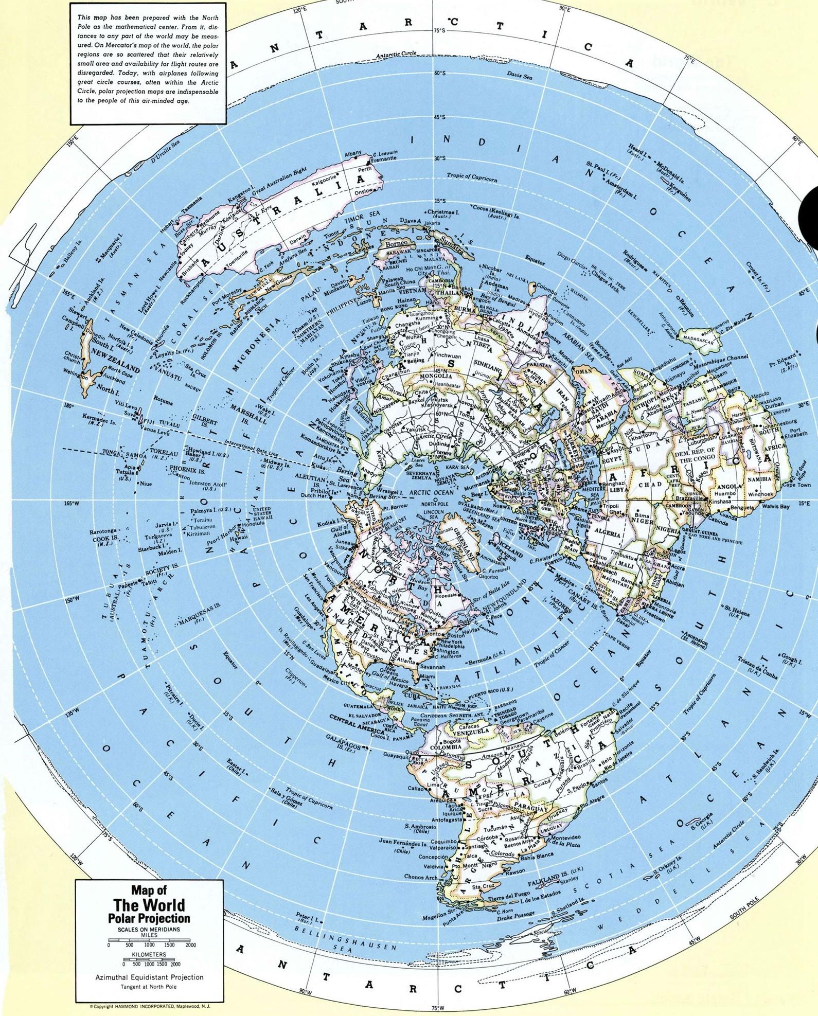Karta Mira V Polyarnoj Proekcii