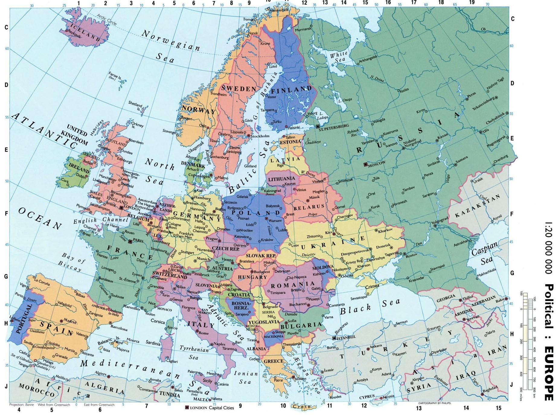 Politicheskaya Karta Evropy Na Anglijskom